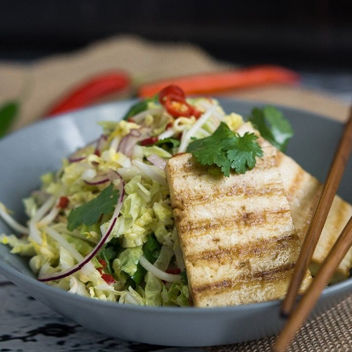 Pan-Fried Tofu with Cabbage Salad