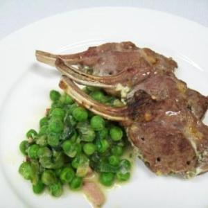 Stuffed Lamb Cutlets with French Peas