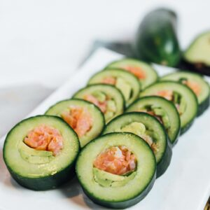 Cucumber Rolls with Avocado and Salmon